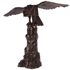 Antique Japanese Bronze Eagle from the Meiji Period