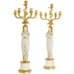 Pair of French Empire Period Egyptian Style Candelabra by Nast Porcelain