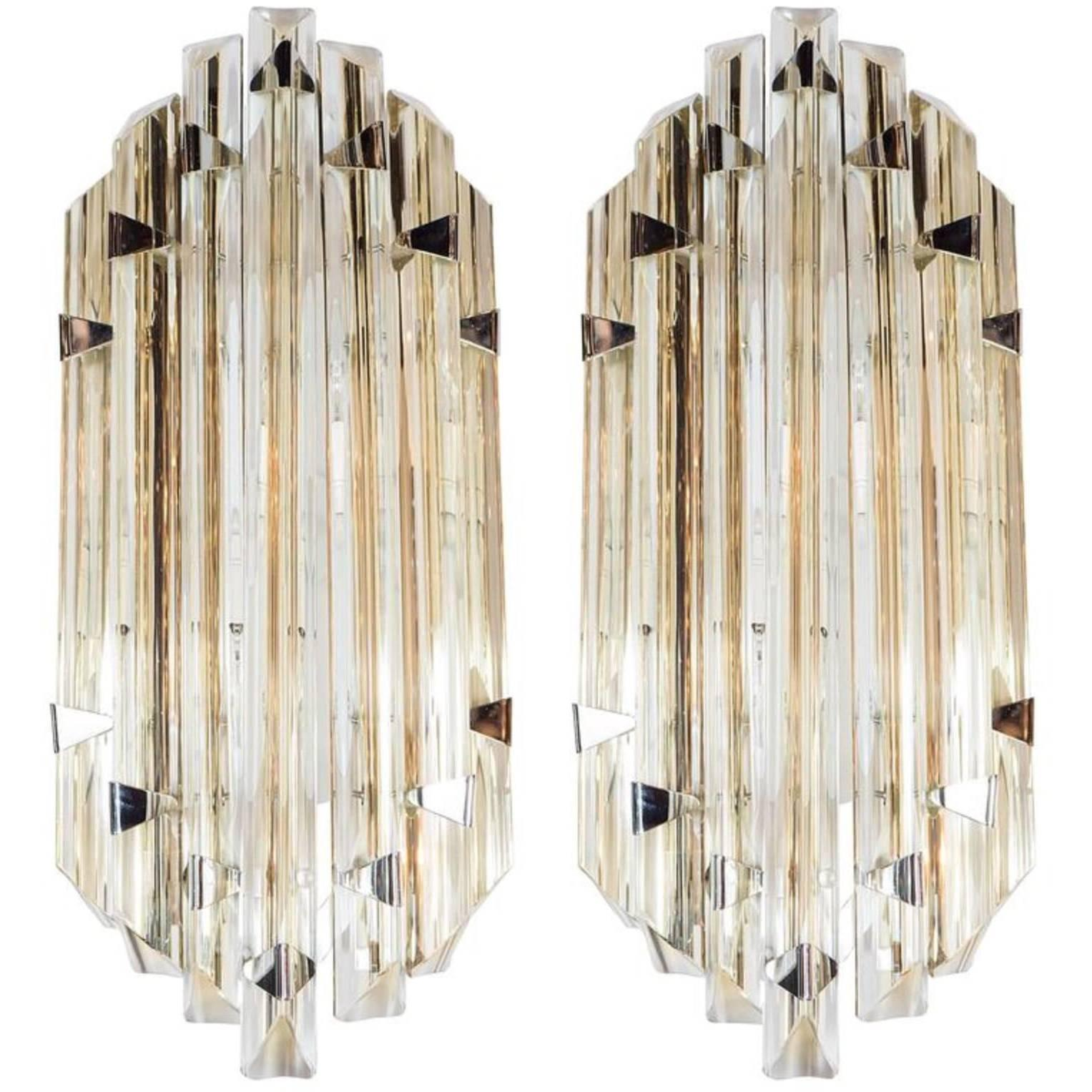Pair of Modernist Wall Lights in Pale Amber Murano Glass in the Style of Venini