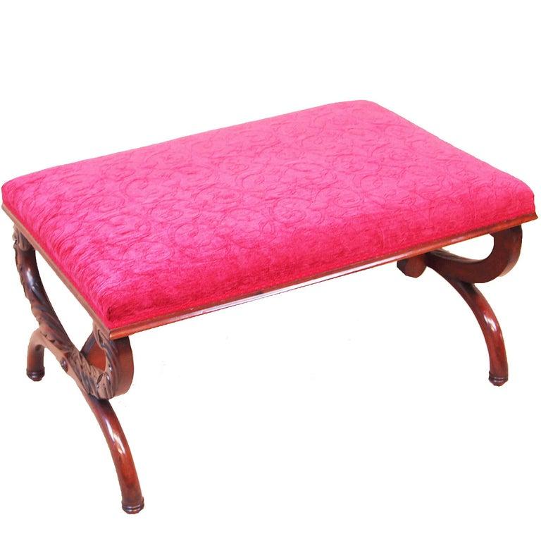 Antique 19th Century Mahogany Salon Stool