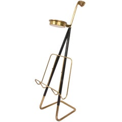Magazine Rack in Brass with Ashtray Austria 1950 Mid-Century Modern Style Aubock