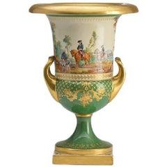 KPM Porcelain Hunting Themed Vase with Parcel Gilding
