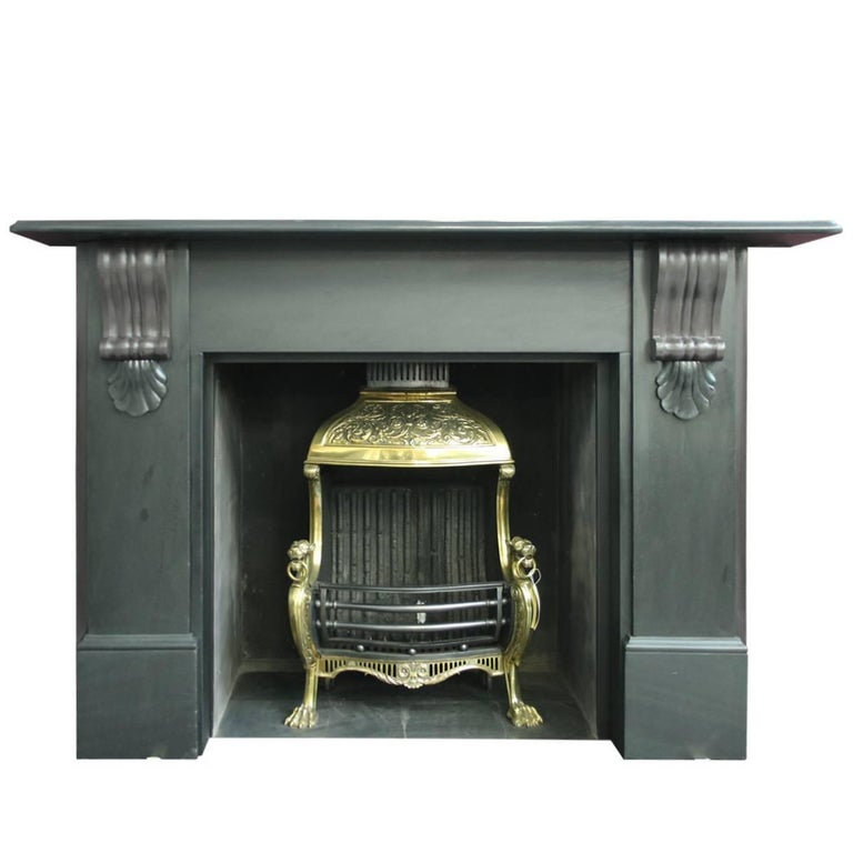 Large 19th Century Late Victorian Slate Fireplace Surround For Sale