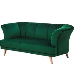 Art Deco Style Emerald Velvet Sofa Martinique