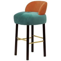 Velvet and Dark Wenge Bar Stool Majestic
