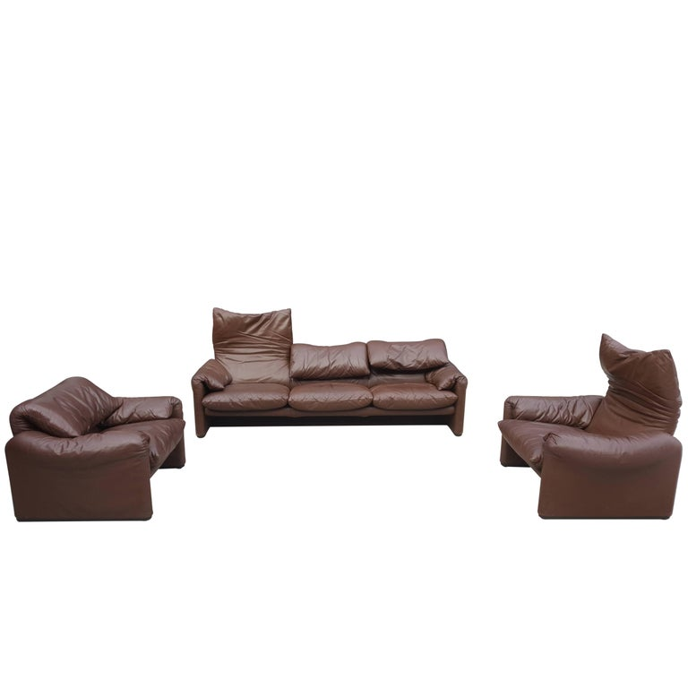 Maralunga Brown Choclat Sofa Set by Vico Magistretti for Cassina