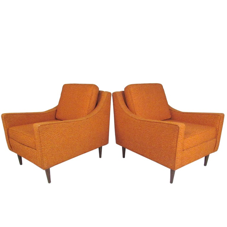 Pair Mid-Century Modern Lounge Chairs For Sale