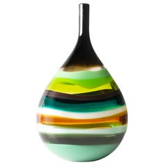 Modern American Green Teardrop Vase, Blown Glass, Handmade, In Stock