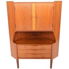 Danish Modern Midcentury Corner Bar Cabinet by Gunni Omann