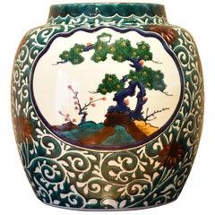 Japanese Kutani Hand-Painted Green Porcelain Vase by  Master Artist