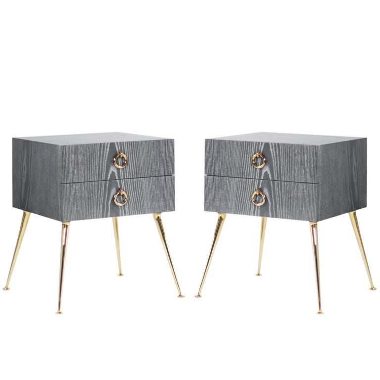 Gibby Collection End Tables in Grey Ceruse For Sale