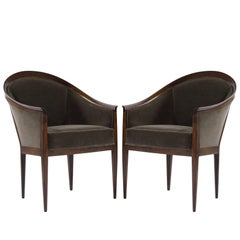 Kipp Stewart for Directional Walnut Frame Lounge Chairs