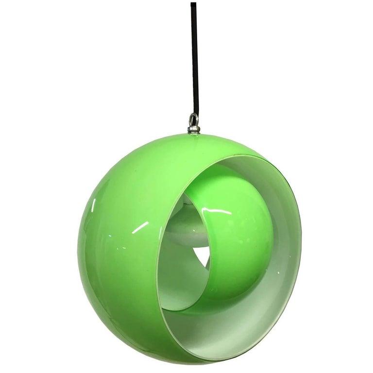 Carlo Nason for Mazzega  Beautiful Green Murano glass Globe Pendant, Italy 1960s