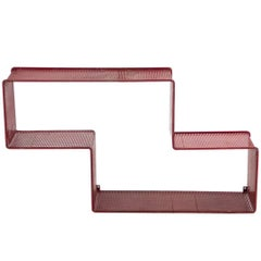 Red Dedal Wall Shelf by Mathieu Matégot, Perforated Steel, circa 1950, France