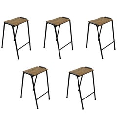 Set of Five British Elm topped Science Lab Stools