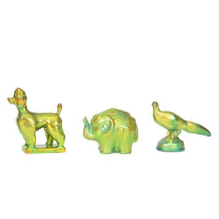 Trio of Zsolnay Iridescent Figures For Sale