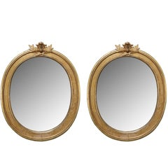 Pair of Antique Swedish Gustavian Oval Mirrors Early 19th Century