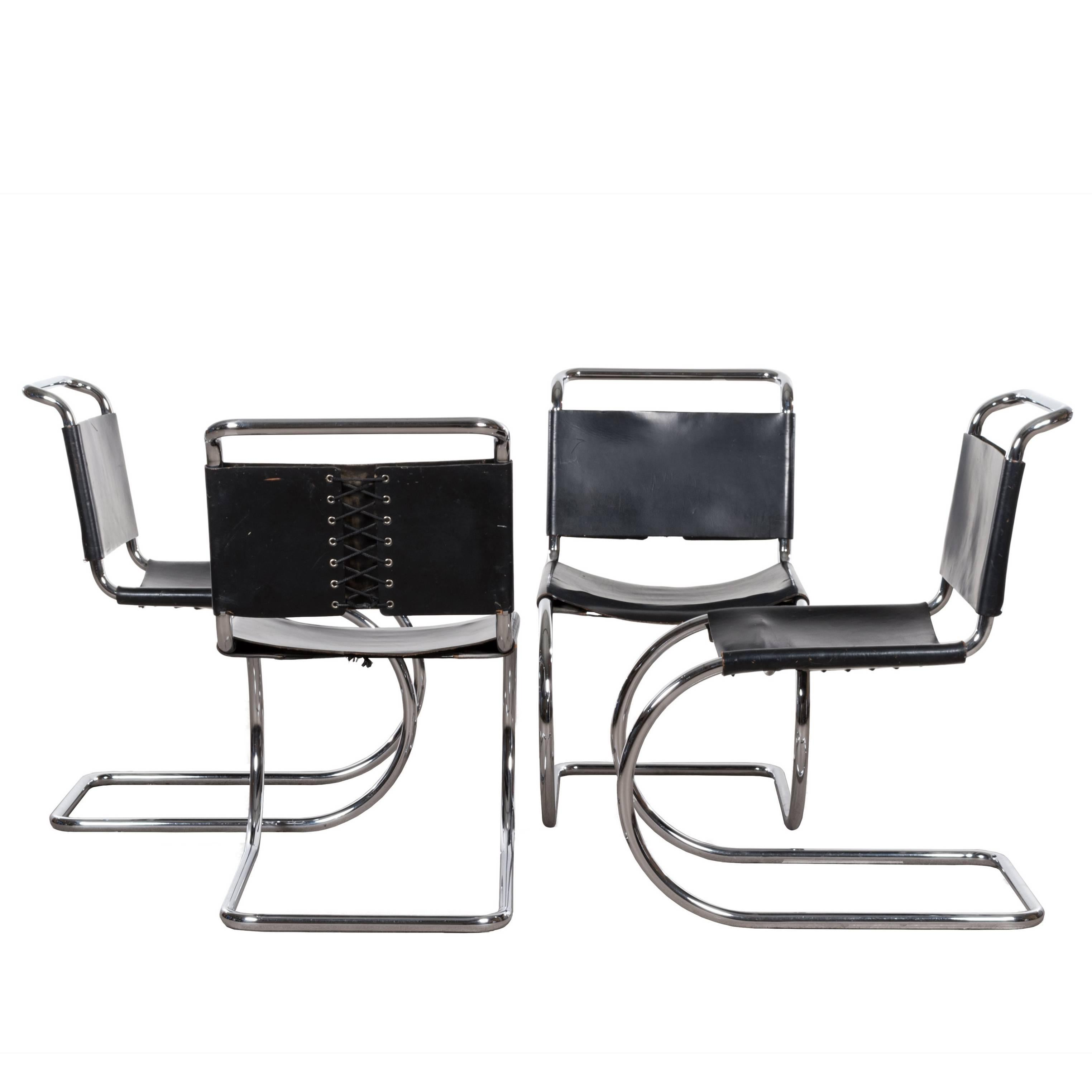 Mies Van Der Rohe MR10 Cantilever Chairs In Black Leather For Sale