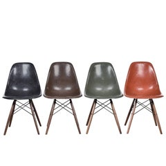 Set of Four Eames DSW Herman Miller, USA Dining Chairs Black, Brow, Green & Red