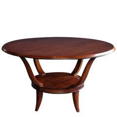 A Stylish French Mahogany Circular Center/Cocktail Table w Ebonized Highlights