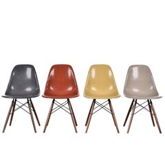 Set of Four Eames DSW Herman Miller, USA Dining Chairs - Grey, Red, Ochre, Beige