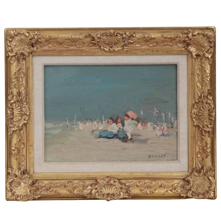 """Beach Scene"" by Jaime E. Carret (American, 1878-1941) Painting in Oil on Panel"
