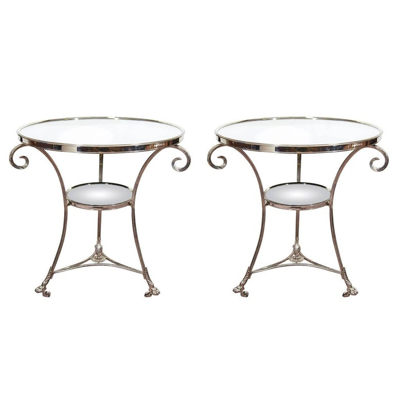 Mid-Century Glass and Chrome French Lamp Tables in the Style of Maison Jansen For Sale