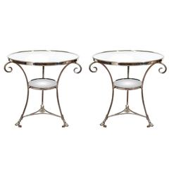 Mid-Century Glass and Chrome French Lamp Tables in the Style of Maison Jansen