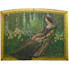 Massive Art Nouveau Painted Wall Panel of a Seated Woman with Irises in a Garden