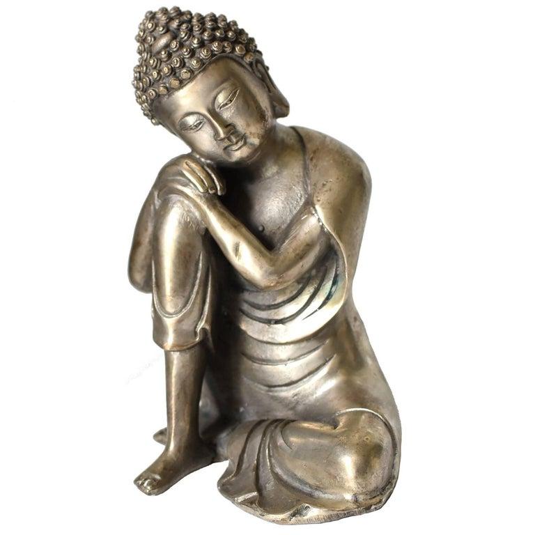 Silvered Brass Buddha Statue, a Thinking Buddha For Sale