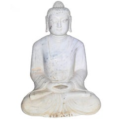 White Marble Stone Buddha Statue, Hand-Carved
