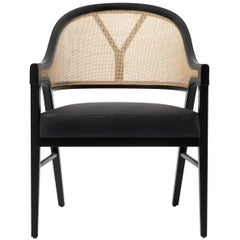 Contemporary Grace Cane Lounge Chair in Cane and Solid Wood