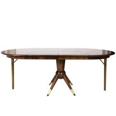 Mid-Century Modern Teak Wood Adjustable Oval / Round Dining Table