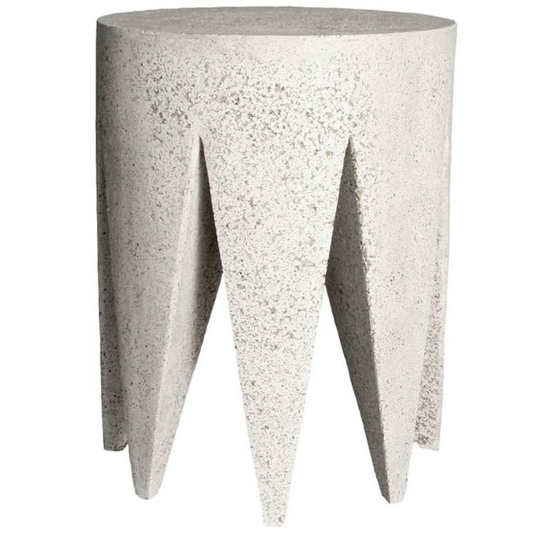 Cast Resin 'King Me' Side Table, Natural Stone Finish by Zachary A. Design For Sale