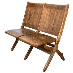 Wood Slat Double Folding Chair