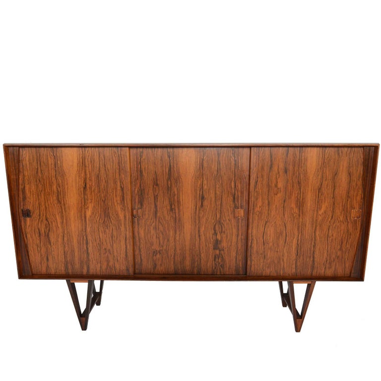 Tall Danish Modern Atomic Rosewood Credenza
