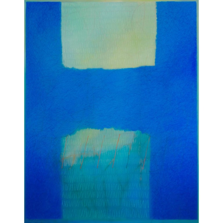 Abstract Painting Titled Blue Bridge by Artist Tina Bluefield