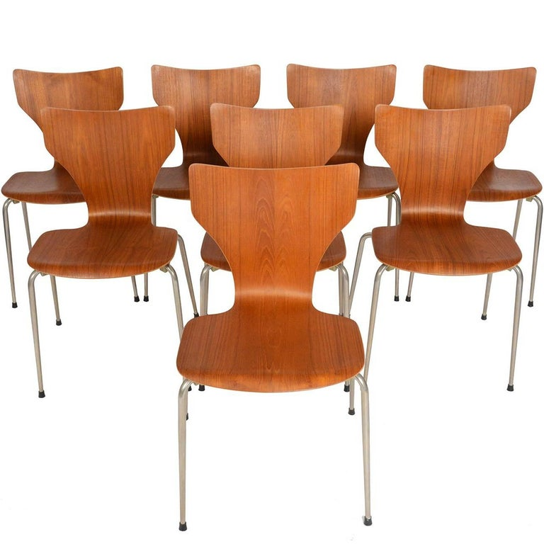 Set of Eight Danish Modern Teak Stacking Dining Chairs
