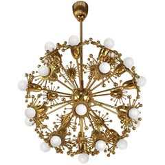 Gilt Brass Sputnik Chandelier by Palwa