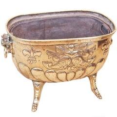 Antique Mid 19th Century Brass Log Bin