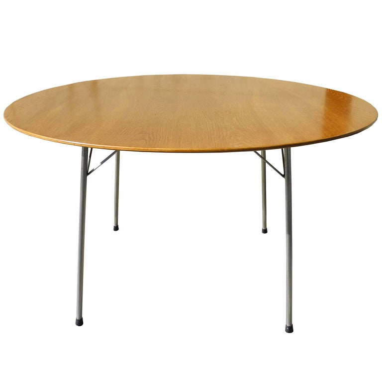Danish Modern Oak Top Round Table by Arne Jacobsen
