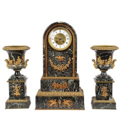 French Empire Influenced Clock Set, 19th Century