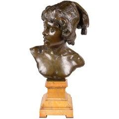 Bronze Bust of Young Boy Singer by Alphonse van Beurden