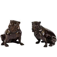Pair of Vintage Patinated Brass Figural English Bulldogs