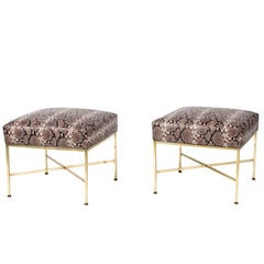 Pair of Brass and Python-Printed Leather Stools by Paul McCobb