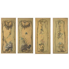 French Set of Four Large Chinoiserie Painted Panels