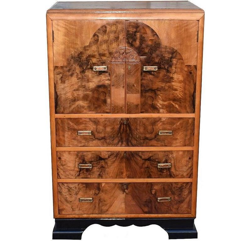 English Art Deco Figured Walnut Cupboard / Chest Of Drawers
