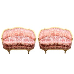Neoclassical Style Settees in Pink Jacquard