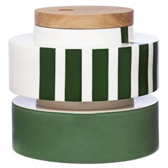 Silos Set of Two White, Green and Black Boxes with Lids