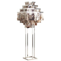 Mother-of-pearl Faceted Floor Lamp with Frame of Chromed Steel